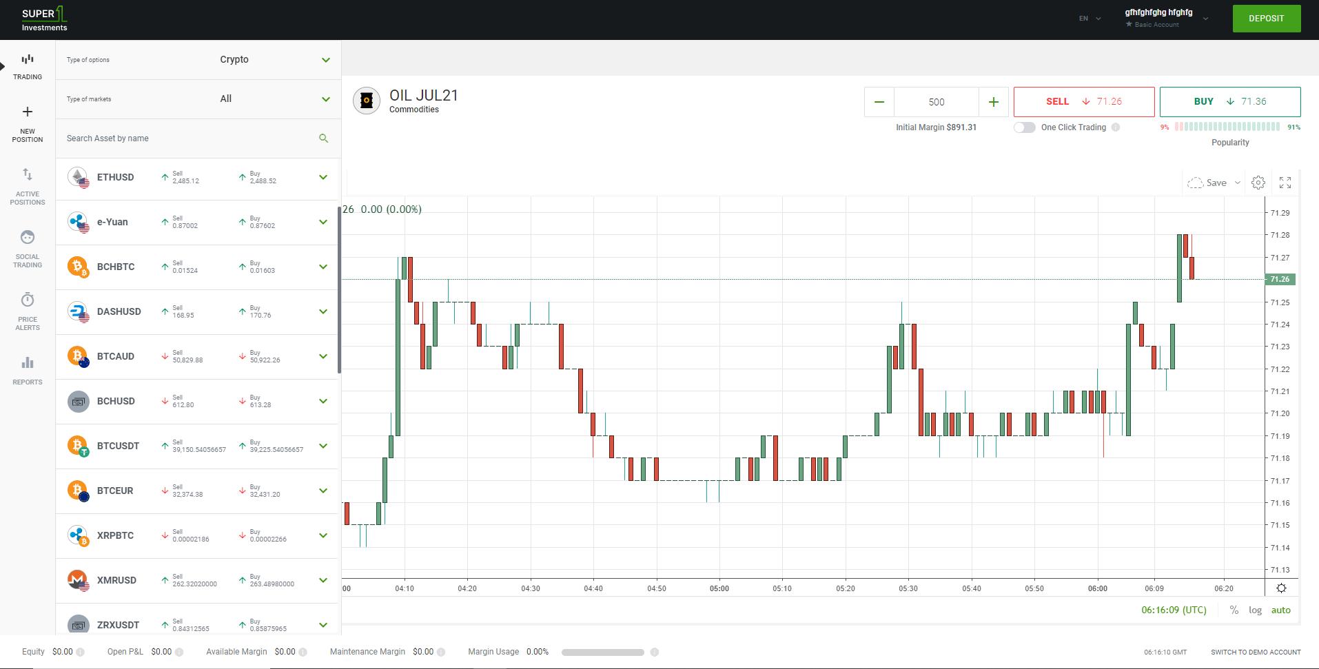 Super1Investments web trading platform